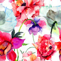 Beautiful peony flowers seamless pattern with watercolor painting Royalty Free Stock Image