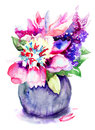 Beautiful peony flowers watercolor painting Stock Image