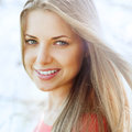 Beautiful perfect girl face portrait outdoors Stock Photo