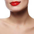 Beautiful perfect lips. Sexy mouth close up. Beautiful wide smile of young fresh woman with full lips. Isolated Royalty Free Stock Photo