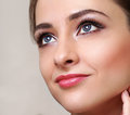 Beautiful perfect makeup woman face closeup portrait Royalty Free Stock Photography