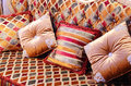 Beautiful pillows on a magnificent sofa Royalty Free Stock Photo