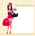 Beautiful pin up girl in christmas costume inspired Royalty Free Stock Images