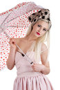Beautiful pin-up girl with umbrella Stock Photography