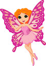 Beautiful pink fairy cartoon illustration of Stock Photography