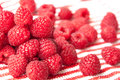 Beautiful pink raspberries on a striped background group of light diagonal with focus the first layer of berries Stock Images