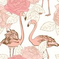 Beautiful pink rose flowers pink flamingo birds seamless pattern. Love couple. Blooming floral elements with leaves.