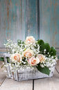 Beautiful pink roses and gypsophila paniculata (Baby's-breath Royalty Free Stock Photo