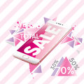 Beautiful pink smartphone. Ready-made flyer design and sales flyers. Total discounts of 30%, 50%, 70%. Vector illustration for a