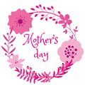 Beautiful pink violet floral frame design on mothers day isolated on white background Royalty Free Stock Photo
