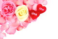 Beautiful pink white rose and red heart of love on white background Royalty Free Stock Images
