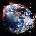 Beautiful planet Earth in outer space. Elements of this image furnished by NASA Royalty Free Stock Photo