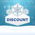 Beautiful plate with snowflakes and inscription discount Royalty Free Stock Image