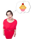 Beautiful plus size woman dreaming about cake Royalty Free Stock Photo
