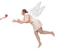 Beautiful plus size woman flying for apple brunette isolated Stock Photos