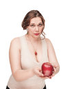 Beautiful plus size woman suggest apple brunette isolated Stock Images