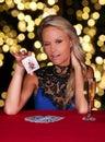 Beautiful Poker Player Royalty Free Stock Photo