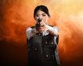 Beautiful police woman holding gun Royalty Free Stock Photo