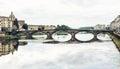 Beautiful Ponte Santa Trinita is mirrored in the river Arno, Flo Royalty Free Stock Photo