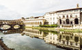 Beautiful Ponte Vecchio, Vasari Corridor and Uffizi Gallery are Royalty Free Stock Photo