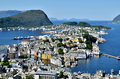 Beautiful port of alesund cruise in aleaund norway Royalty Free Stock Photography