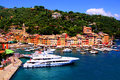 Beautiful portofino aerial view over the famous fishing village of italy Stock Image