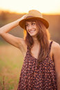 Beautiful portrait of a carefree happy girl with amazing smile and cute looks summer lifestyle Stock Photography