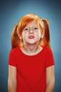 Beautiful portrait of a displeased disaffected little girl Royalty Free Stock Photo