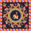 Beautiful poster with cute elephants, cheerful dancing monkeys, round ornament with paisley, roses and multicolor frame
