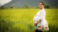 Beautiful Pregnant Asian Woman in Rice Field Royalty Free Stock Photo