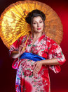 Beautiful pregnant geisha Stock Images