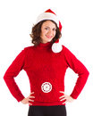 Beautiful pregnant girl in Santa Claus clothes Stock Photography