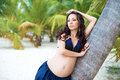 Beautiful  pregnant girl in tropical park. Exotic nature, health Royalty Free Stock Photo