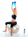 Beautiful pregnant woman at fitness gym Stock Photos
