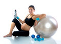 Beautiful pregnant woman at fitness gym relaxed Stock Images