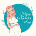 Beautiful pregnant woman. happy mothers day. Vector illustration.