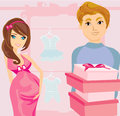 Beautiful pregnant woman and her happy husband on shopping illustration Royalty Free Stock Photos