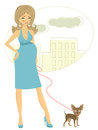 Beautiful pregnant woman with little dog illustration of Royalty Free Stock Photography