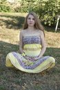 Beautiful pregnant woman relaxing in the park this image has attached release Royalty Free Stock Photography
