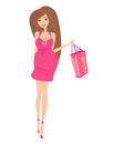 Beautiful pregnant woman on shopping Royalty Free Stock Photography