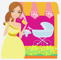 Beautiful pregnant woman on shopping for her new baby Stock Image