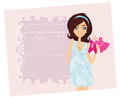 Beautiful pregnant woman on shopping for her new baby illustration Royalty Free Stock Photography