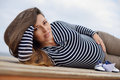 Beautiful pregnant woman wearing striped shirt Stock Photos
