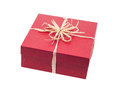 Beautiful present box with overwhelming bow isolated on white Stock Photography