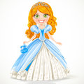 Beautiful princess in a blue ball gown and tiara Stock Images