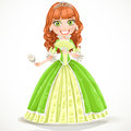 Beautiful princess brown hair green dress white rose her hand Stock Photography