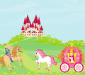 Beautiful princess in a carriage prince on horseback and fairy tale castle Royalty Free Stock Photos
