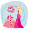 Beautiful princess dreaming of a prince on horse illustration Royalty Free Stock Photography