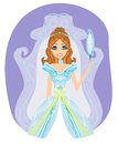 Beautiful princess with mirror in her hands illustration Royalty Free Stock Photo