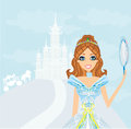 Beautiful princess with mirror in her hands illustration Royalty Free Stock Photos